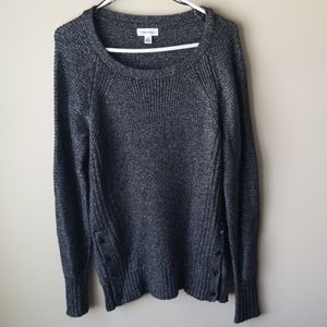 Calvin Klein Knit Scoopneck Sweater Side Buttons